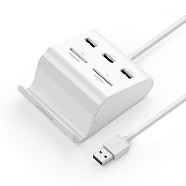 Bộ chia USB 3.0 3 Cổng Kiêm Giá Đỡ Và Đầu Đọc Thẻ Ugreen 30342